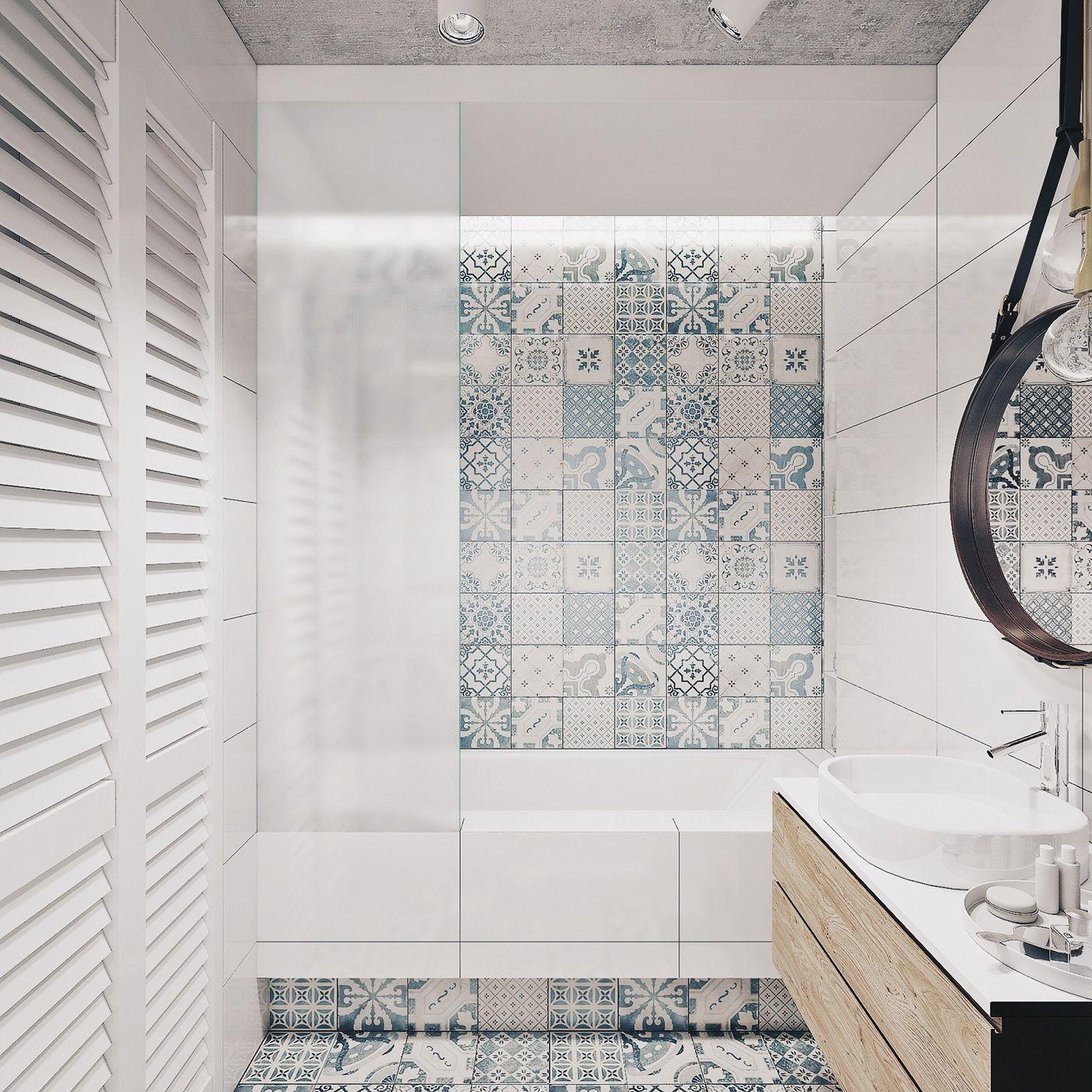 eclectic-blue-tile-bathroom