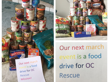 Our March event is a food drive for OC Rescue Mission!