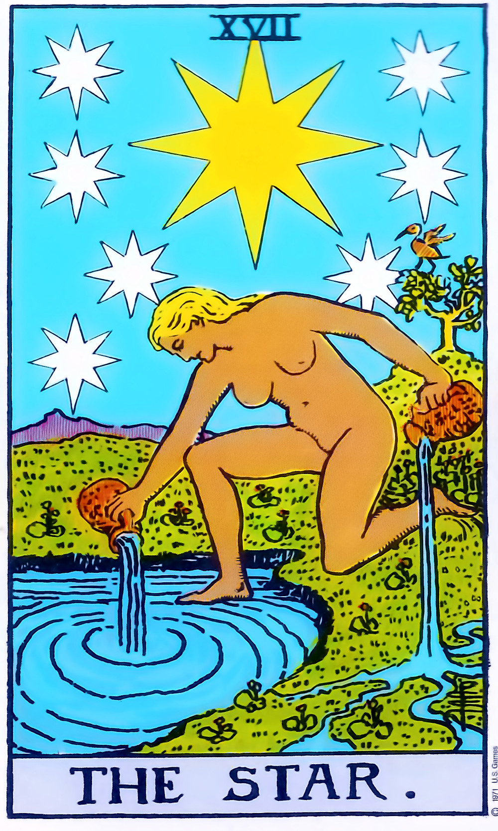A naked woman kneels by water with one foot in the water, and other on land. Above her head a star shines out. In each hand she holds a jug, from one jug she pours a liquid into the water and from the other jug she pours a liquid onto the land.