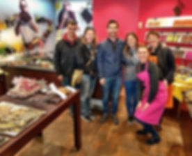 Cocoa & Grapes tour group enjoying their chocolate tasting at Patisserie BIMAS Carcassonne