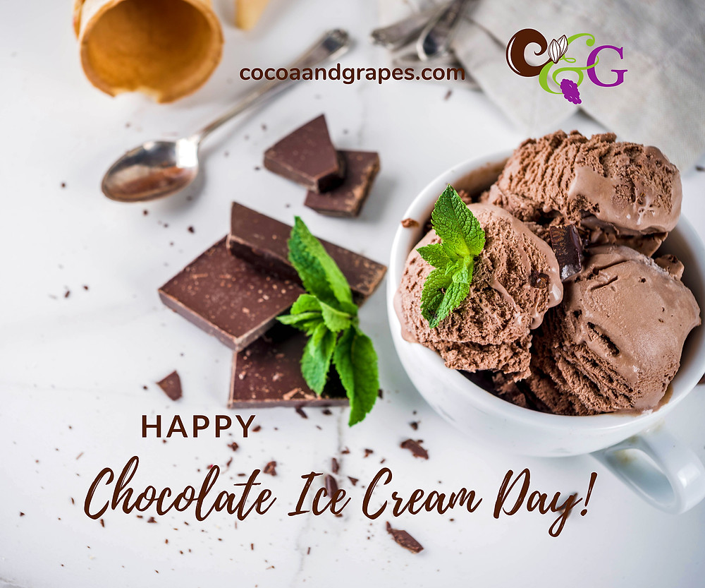 Bowl of chocolate ice cream with fresh mint leaves along with broken pieces of a chocolate bar