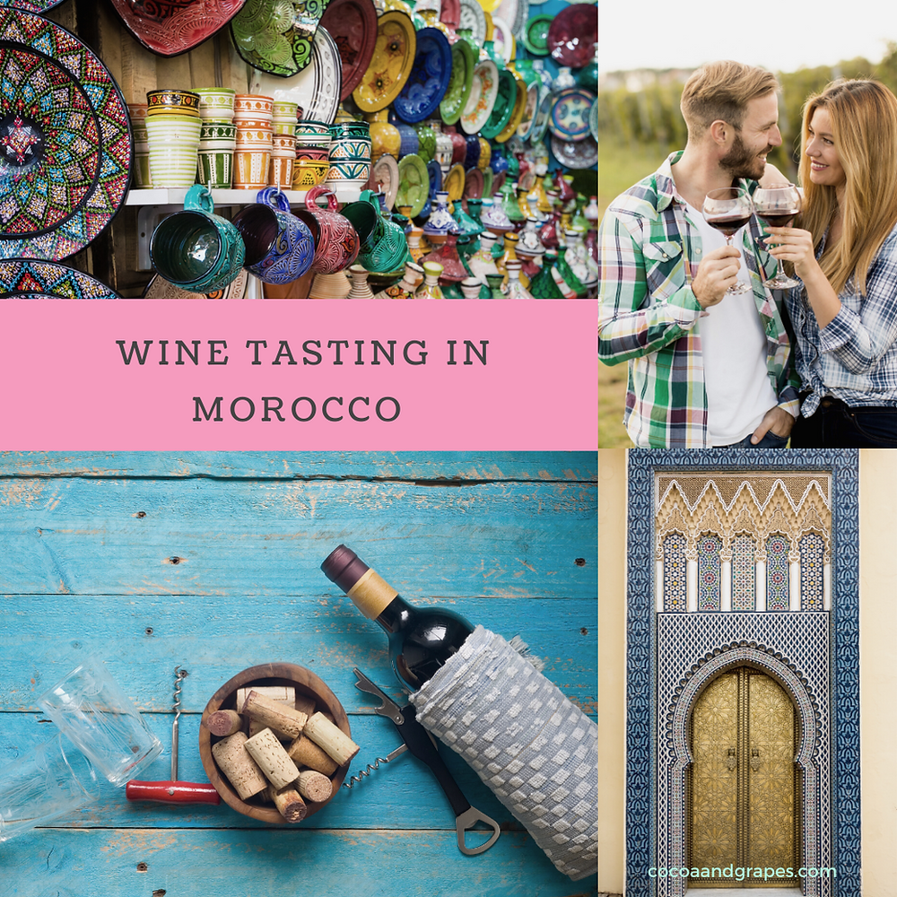 Collage of images from morocco, a wine bottle and corks and a young couple tasting wine in a vineyard