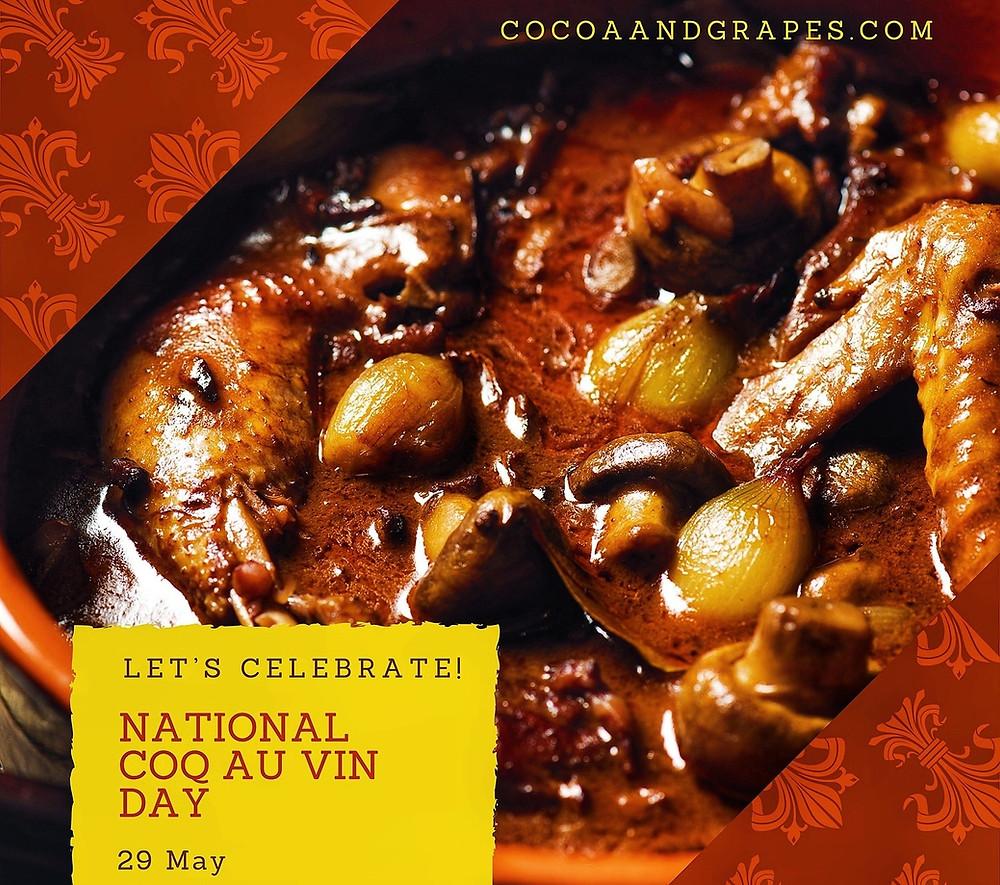 Simmering pot of delicious looking Coq au Vin