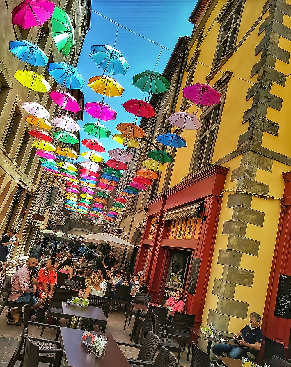The overhead summer umbrellas in La Bastide Saint-Louis of Carcassonne, France