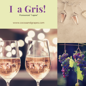Collage of photos of gris wine in wine glasses and bunches of grapes