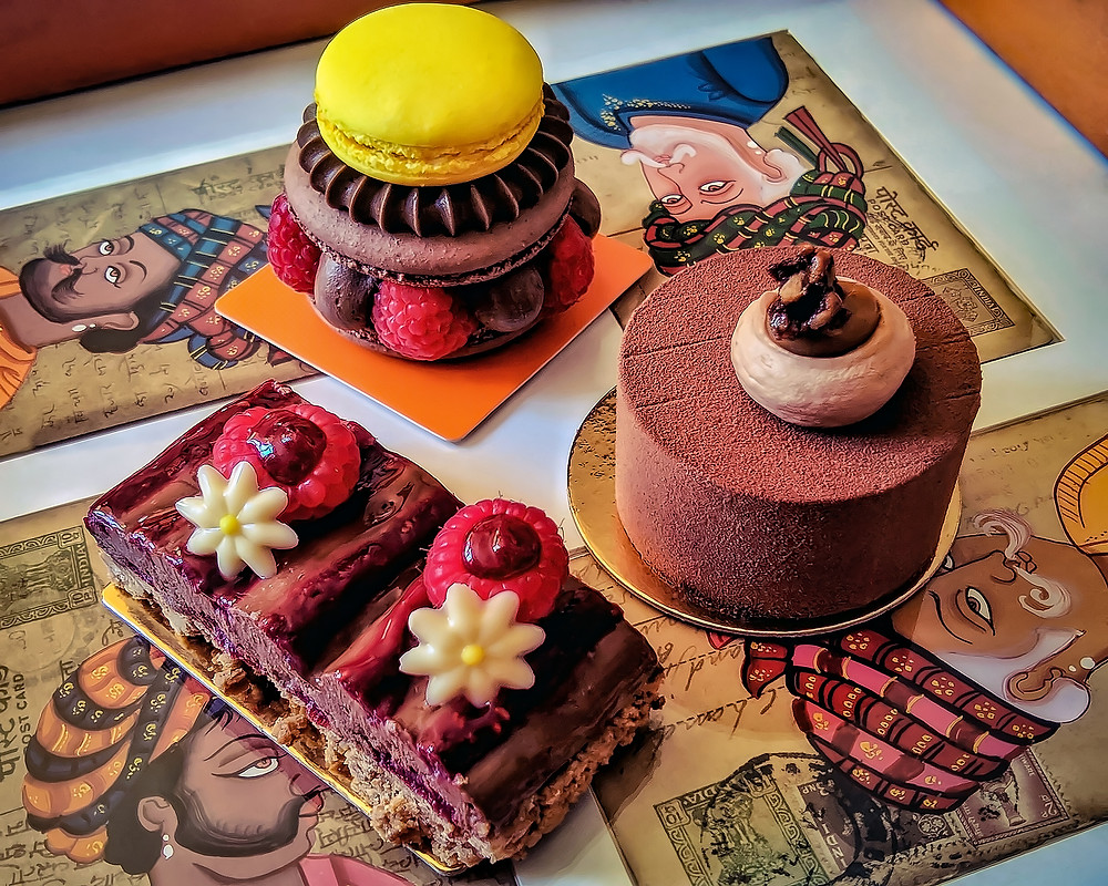 Three delicious  and creative pastries of Pâtisserie Chocolaterie Bimas, in Carcassonne, France.