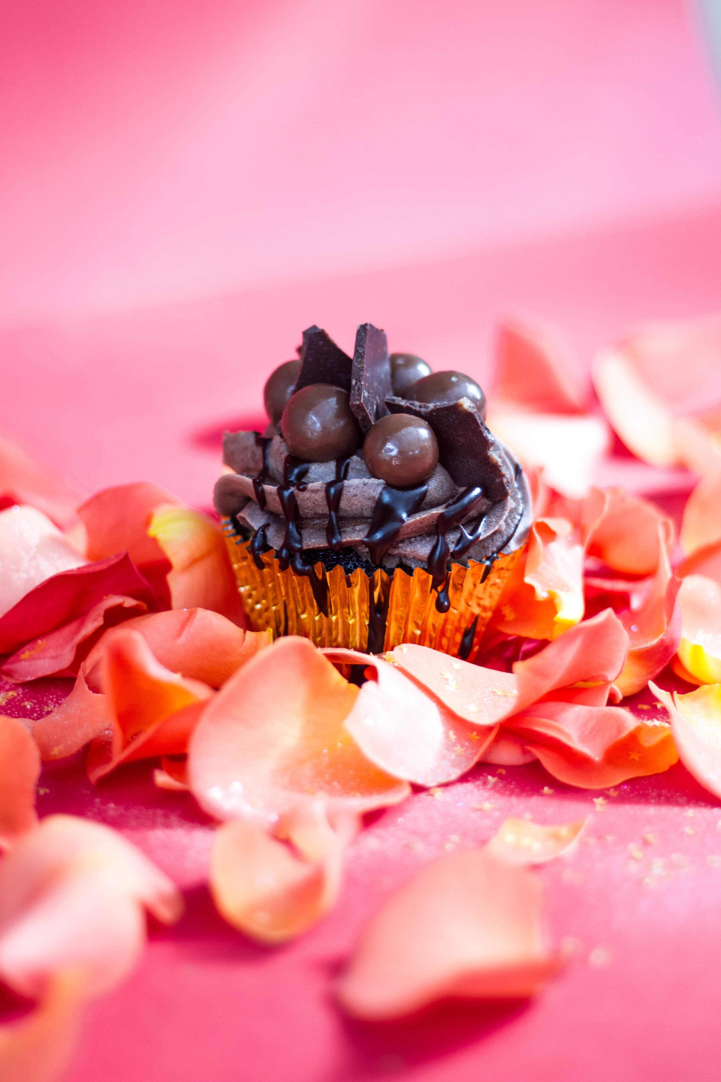 Chocolate cupcake with decorations