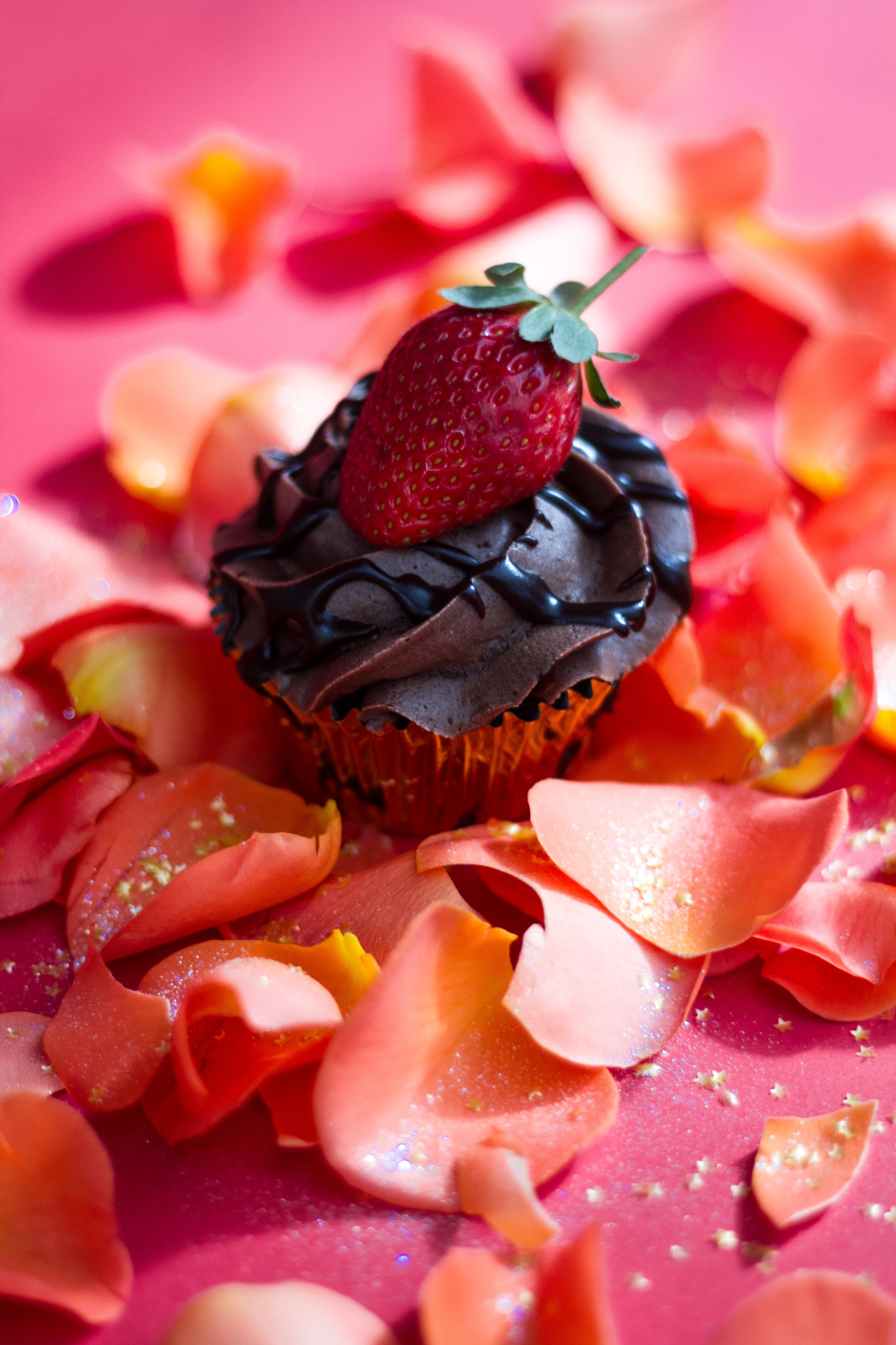 Chocolate cupcake with strawberry