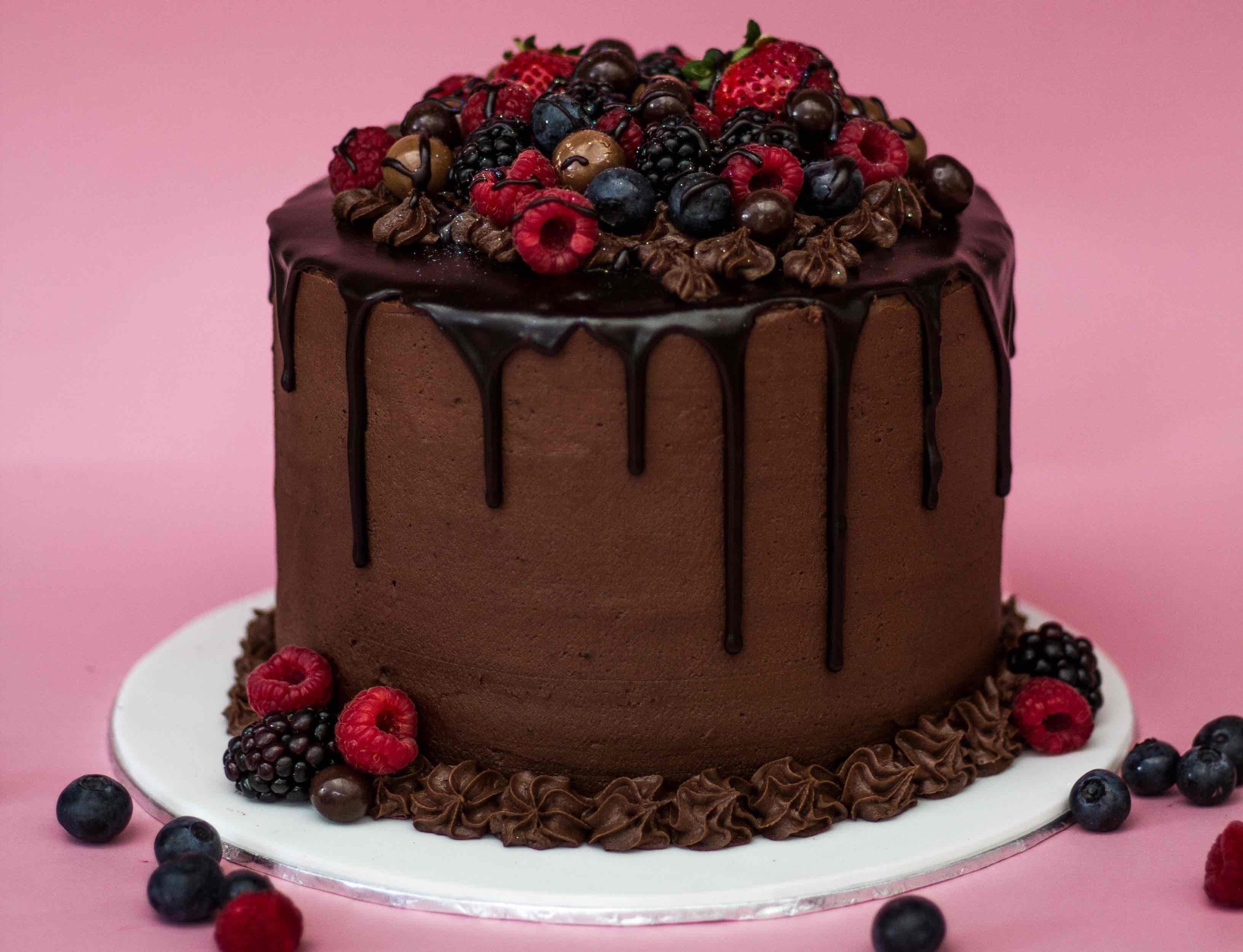 Chocolate cake with ganache drip