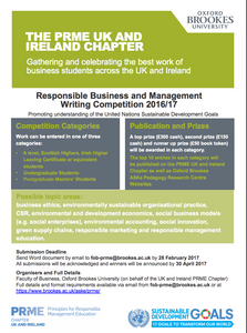 Responsible Business and Management. Writing Competition 2016/17