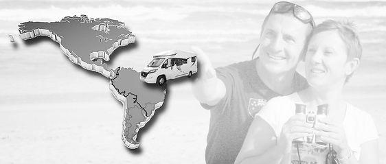Photo montage de nous deux lançant le camping-car vers l'Amérique du Sud