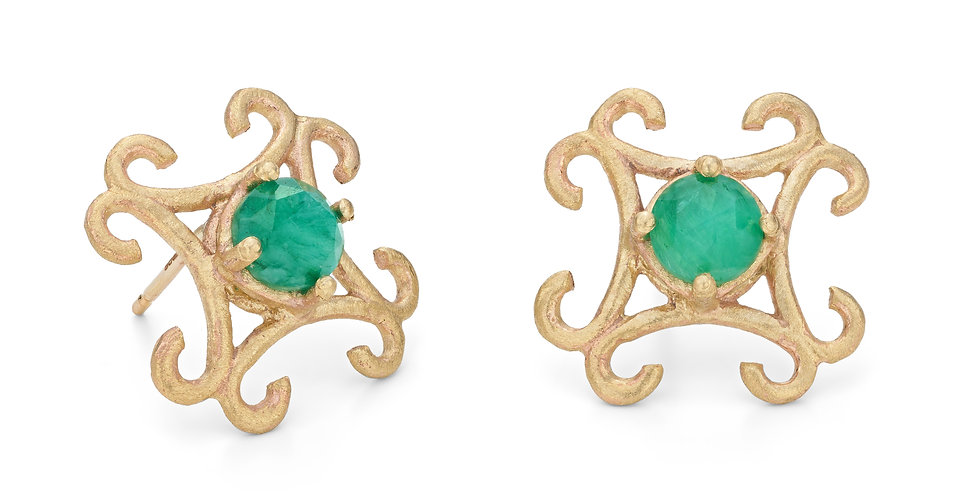 9ct yellow gold large stud earrings with rose cut emeralds