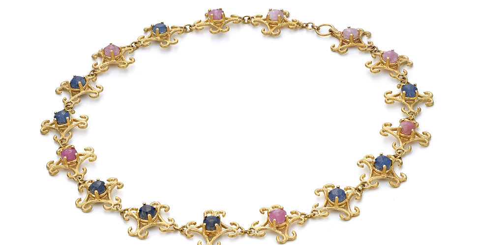 9ct yellow gold lace eternity necklace with natural pink and blue sapphires