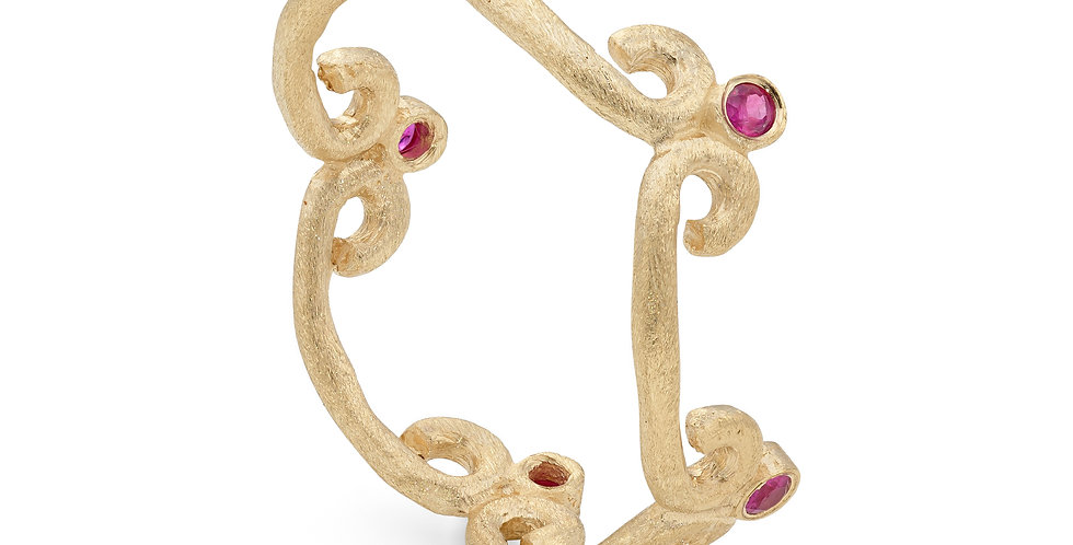 9ct yellow gold eternity ring with rubies