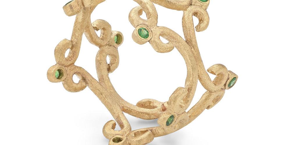 9ct yellow gold double ring with garnet tsavorites