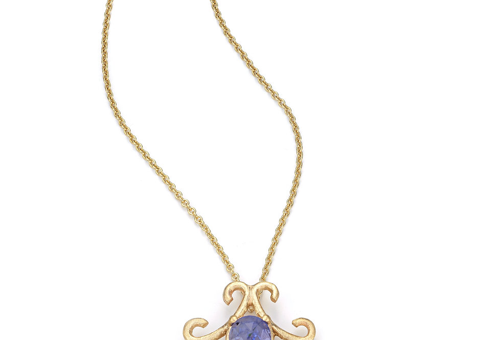 9ct yellow gold necklace with rose cut natural tanzanite