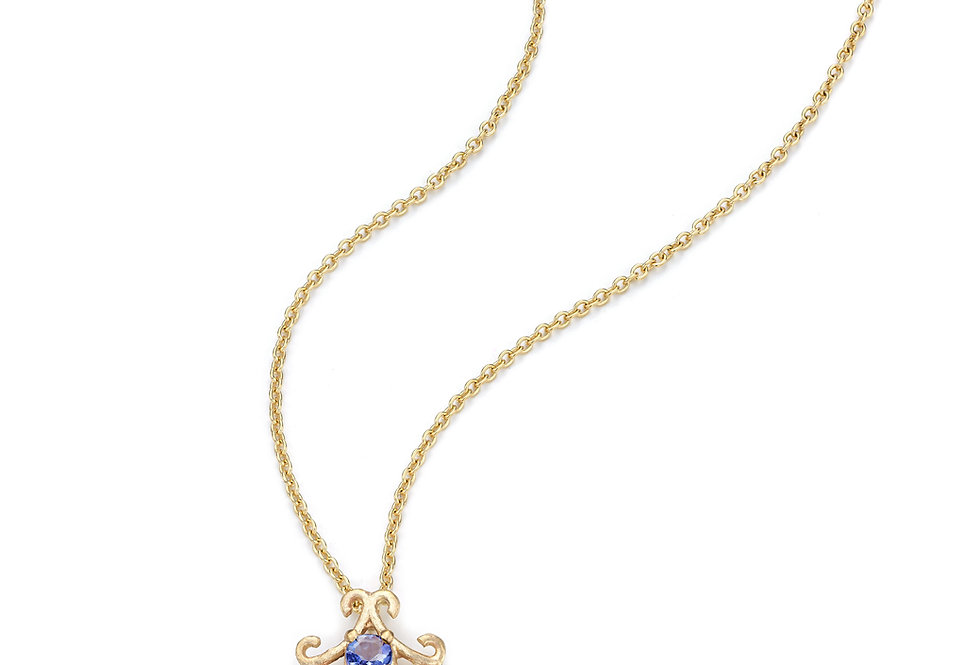 9ct yellow gold necklace with tanzanite