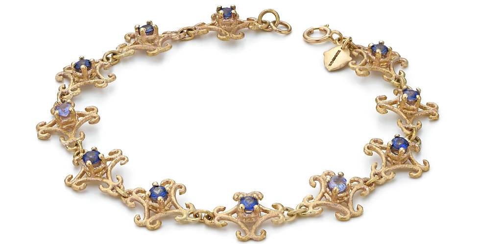 9ct yellow gold eternity lace bracelet with sapphires and tanzanites