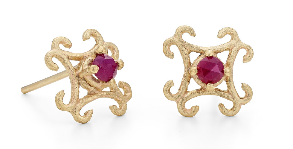 9ct yellow gold small stud earrings with rose cut natural rubies