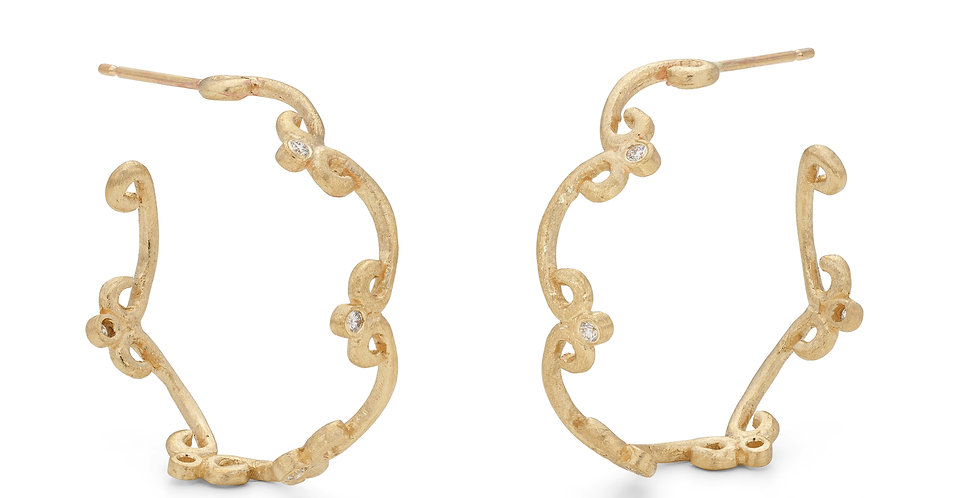 9ct yellow gold hoop earrings with brilliant cut white diamonds