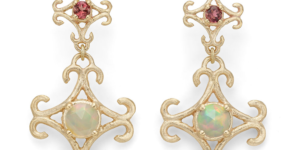 9ct yellow gold drop earrings with pink tourmalines and opals