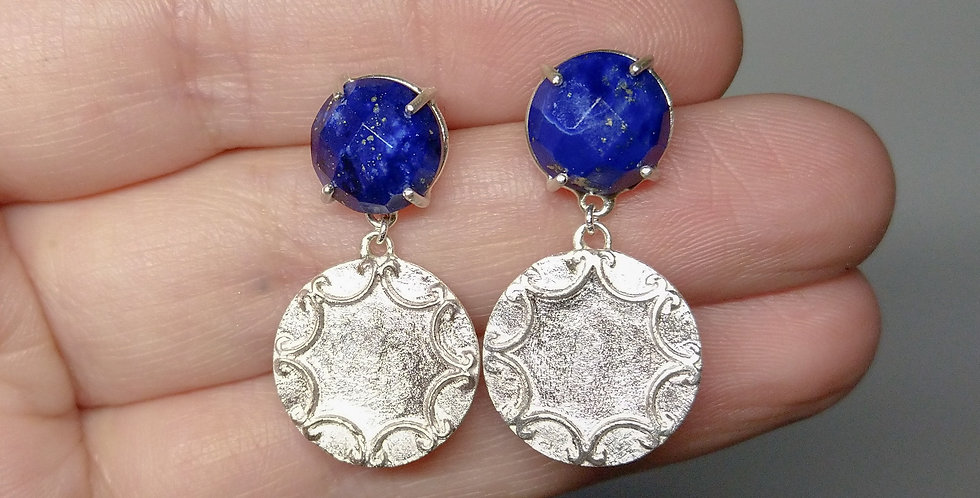 Sterling silver earrings with lapis-lazuli