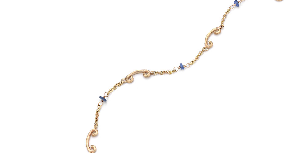 9ct yellow gold bracelet with sapphire beads