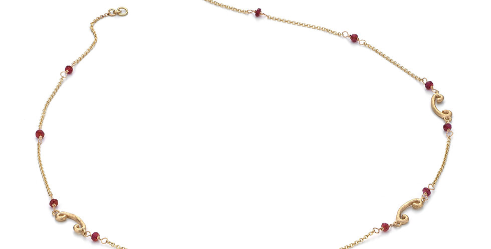 9ct yellow gold necklace with ruby beads