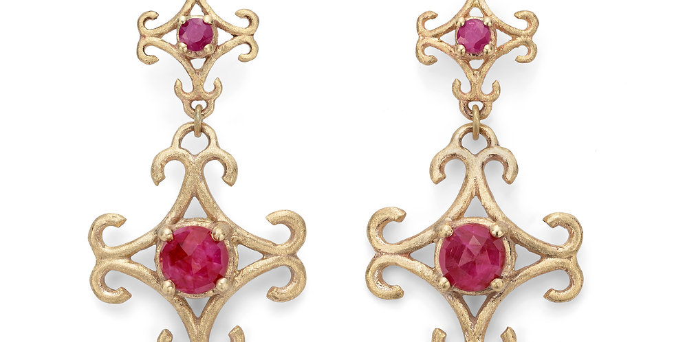 9ct yellow gold drop earrings with rubies