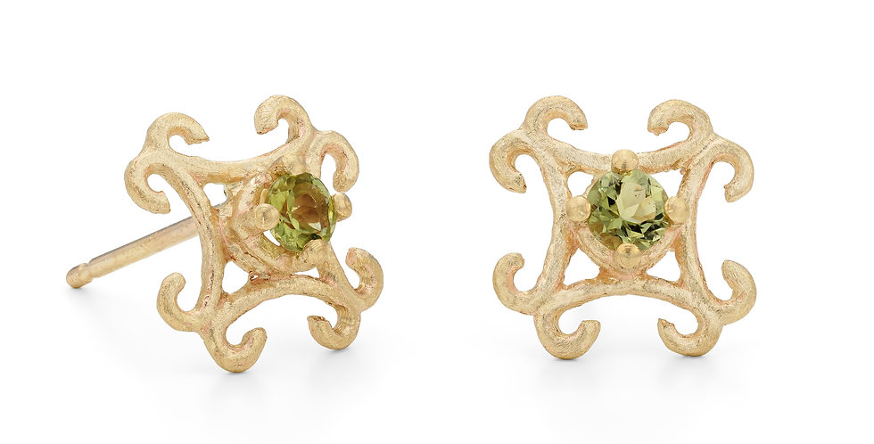 9ct yellow gold small stud earrings with green tourmalines
