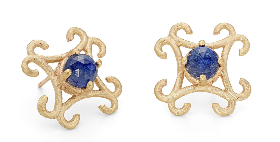 9ct yellow gold large stud earrings with rose cut natural blue sapphires