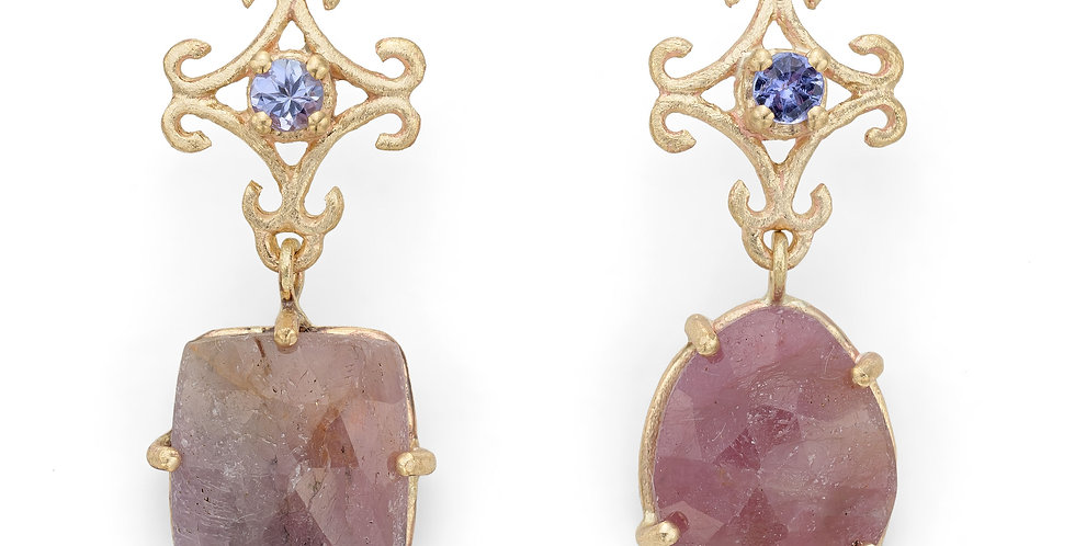 9ct yellow drop earrings with tanzanites and rose cut natural pink sapphires