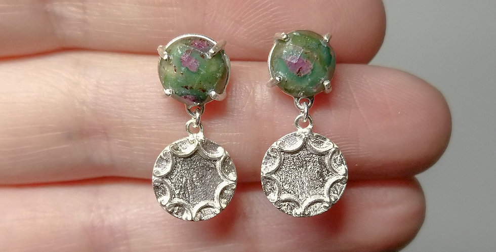 Sterling silver drop earrings with ruby-zoisite cabochons