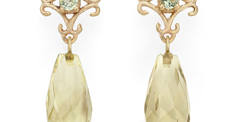 9ct yellow gold drop earrings with green tourmalines and lemon quartz briolettes