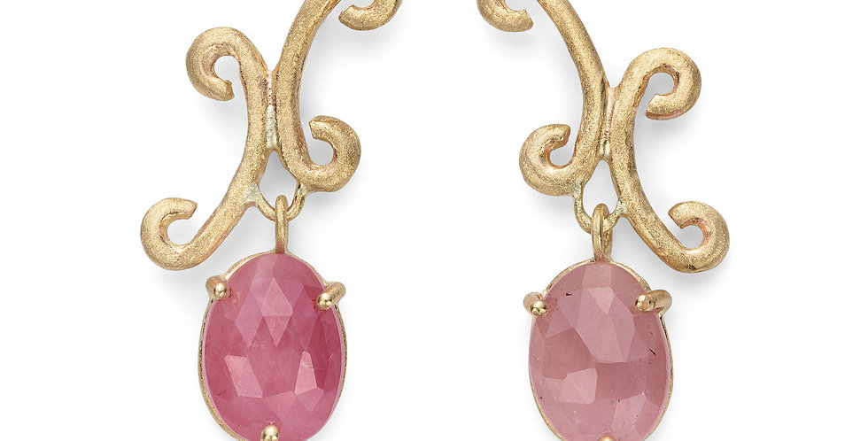 9ct yellow gold earrings with natural pink sapphires