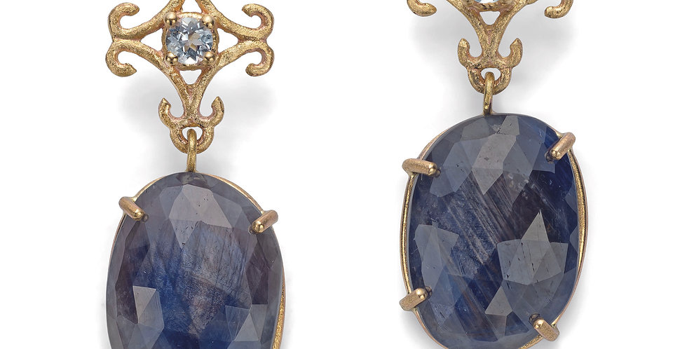 9ct yellow gold drop earrings with Swiss blue topazes and  blue sapphires