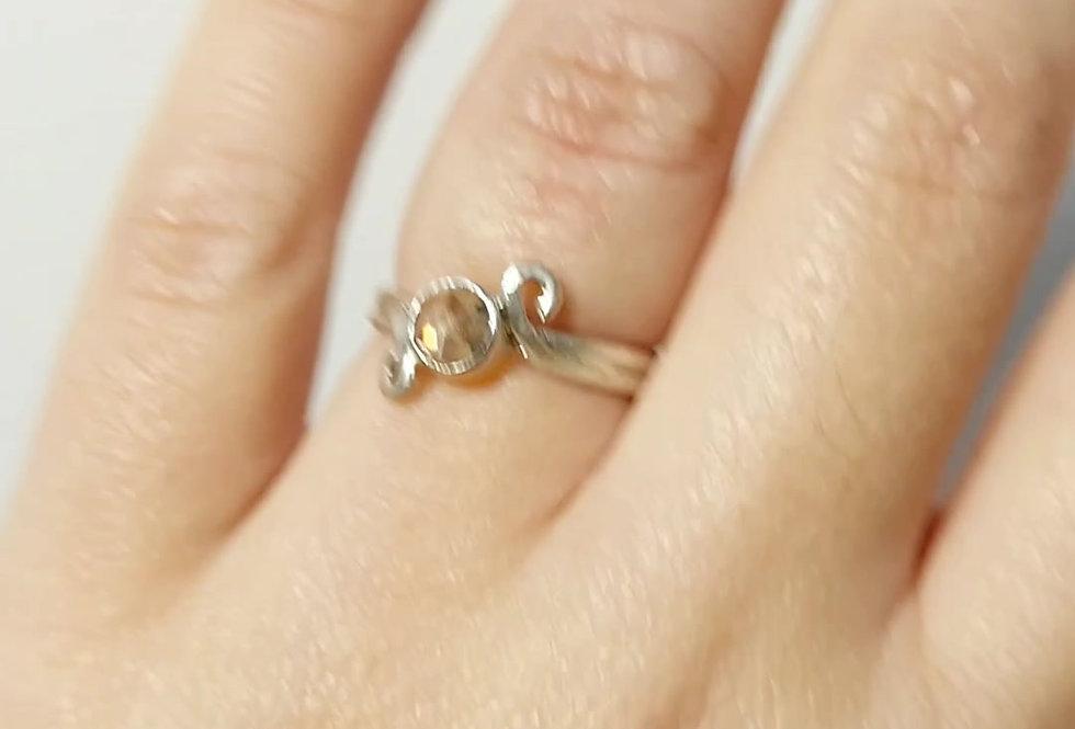 Sterling silver ring white transparent quartz