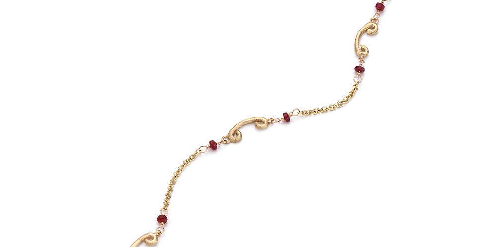 9ct yellow gold bracelet with ruby beads