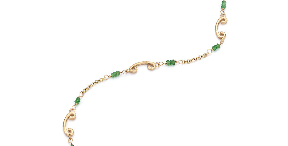 9ct yellow gold bracelet and garnet tsavorite beads