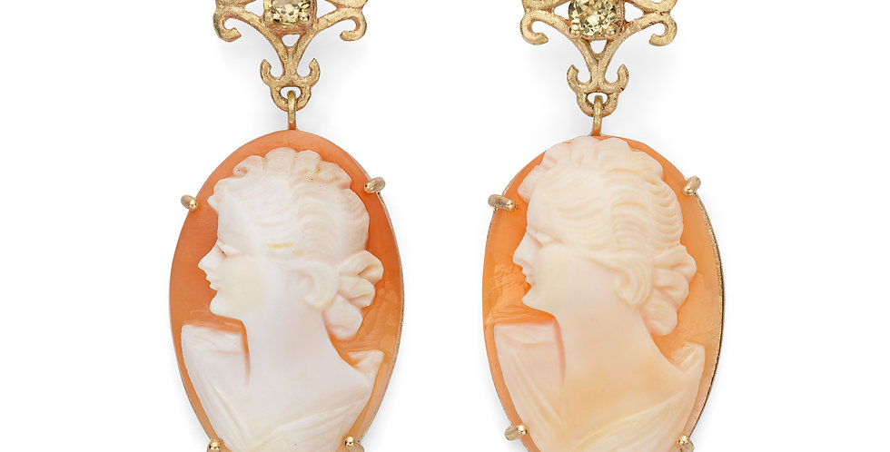 9ct yellow gold drop earrings with golden tourmalines and hand carved cameos