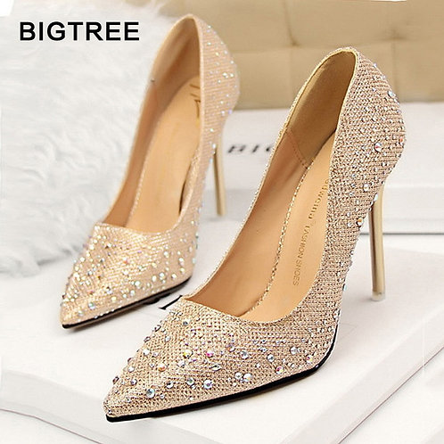 Pumps Classic Sequined Shallow Women High Heels Sexy Pointed Shoes