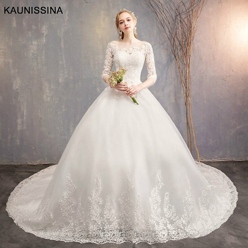 Luxury Long Train Sweetheart White Sexy Wedding Gown  Vestidos