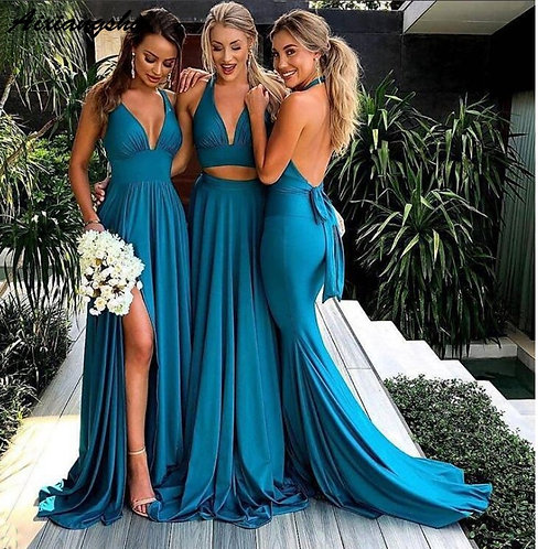 Turquoise Blue Side Slit A-Line Long Sexy Backless V-Neck Bridesmaid Dress