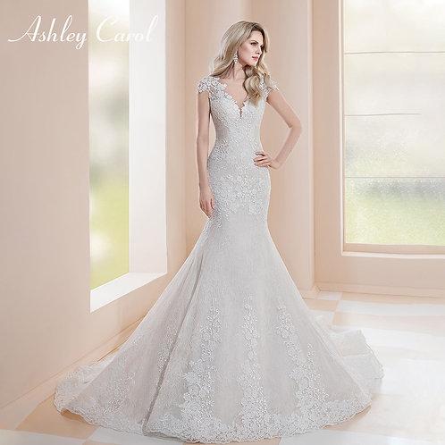 Mermaid Wedding Dress Sexy V-Neck  Appliques Bridal Gown
