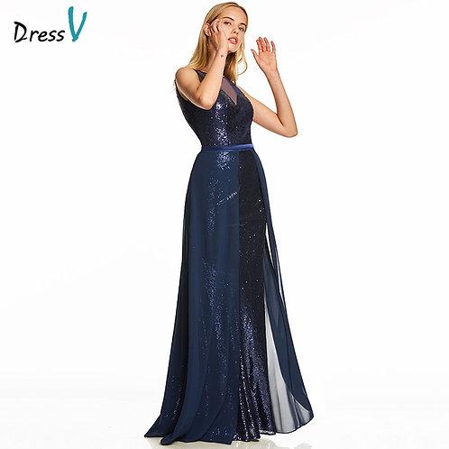 Dark Royal Blue Long Evening Scoop Neck Sleeveless Evening Dress