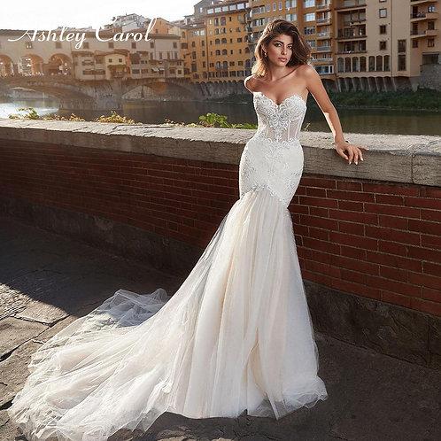 Ashley Carol Mermaid Wedding Dress Sleeveless Appliques Backless Bride Dresses