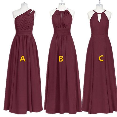 Burgundy Bridesmaid Long  Chiffon Dress Demoiselle D'Honneur