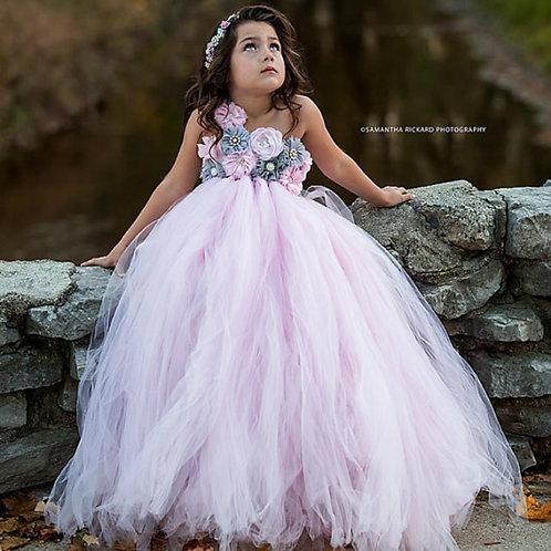 Pink and Grey Flower Girl Tulle Robe Demoiselle Rose Dress