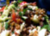 taboulé  petit épeautre  crevettes marinées