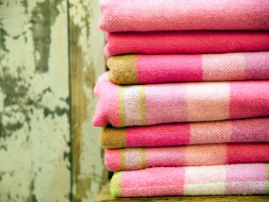Pile of wool blankets.